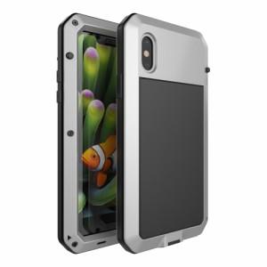 iPhone X ハードケース シルバー 強化ガラス保護フィルム付き アイフォン X 背面型 超薄軽量