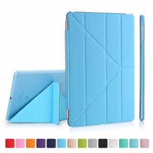 iPad 2017 レザーケース ベイビーブルー 液晶保護フィルム付き スマホケース  アイパッド2017 カバー 手帳型 スタンド機能