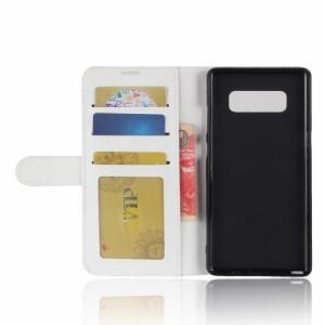 Galaxy Note 8 レザーケース ホワイト 液晶保護フィルム付き SC-01K SCV37 ギャラクシーノート8 カバー 手帳型 スタンド機能 ICカードス