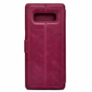 Galaxy Note 8 レザーケース ワインレッド 液晶保護フィルム付き SC-01K SCV37 ギャラクシーノート8 カバー 手帳型 スタンド機能 ICカー