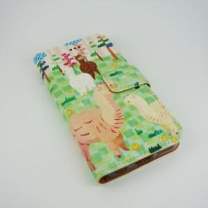 COMO コモ 全機種対応 手帳型 スマホケース com050-all フリップ ブックレット ダイヤリー キノコリスモノグラム 可愛い イラスト コラ