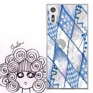 AQUOS PHONE Xx 302SH専用 ケース 50075 ScoLar スカラー スカラコ クレヨン画 ブルー かわいい ファッションブランド デザイン スマホカ