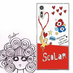 AQUOS PHONE Xx 302SH専用 ケース 50091 ScoLar スカラー モンキー さる ハート 花 かわいい ファッションブランド デザイン スマホカバ