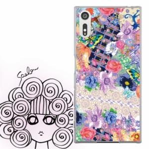AQUOS PHONE Xx 302SH専用 ケース 50115 ScoLar スカラー フラワー レース 蝶 コラージュ かわいい ファッションブランド デザイン スマ
