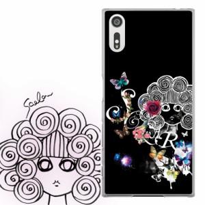 AQUOS PHONE Xx 302SH専用 ケース 50128 ScoLar スカラー スカラー フラワーロゴ チョウ ブラック かわいい ファッションブランド デザイ