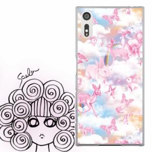 Galaxy S8+ SC-03J、SCV35専用 ケース 50199 ScoLar スカラー メルヘン 雲の上のうさぎ 蝶 バンビ 虹 かわいい ファッションブランド デ