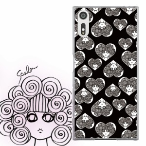 Galaxy S8+ SC-03J、SCV35専用 ケース 50254 ScoLar スカラー スカコ ハートブラック 総柄 かわいいデザイン ファッションブランド デザ