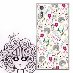 AQUOS PHONE SERIE SHL22専用 ケース 50258 ScoLar スカラー スカル スカコ キャラ ハート 総柄アイボリー かわいいデザイン ファッショ