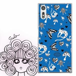 Galaxy S8 SC-02J、SCV36専用 ケース 50325 ScoLar スカラー キャラ チョウ ネコ ブルー ポップ総柄 かわいいデザイン ファッションブラ