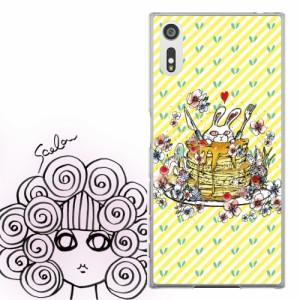 Galaxy S6 edge SC-04G、SCV31、404SC専用 ケース 50449 ScoLar スカラー こわかわいい ウサギ パンケーキ イエロー かわいい デザイン