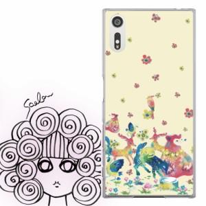 Galaxy Feel SC-04J専用 ケース 50493 ScoLar スカラー メルヘン アニマル お花の水彩画 かわいい デザイン ファッションブランド  デザ