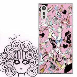AQUOS PHONE EX SH-02F専用 ケース 50537 ScoLar スカラー ハイヒール サンダル ハート総柄 ピンク かわいい デザイン ファッションブラ