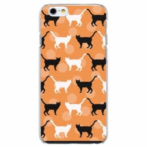 INFOBAR A02機種専用 スマホケース ARCデザイン 30268 水玉 ネコ柄 オレンジ かわいい スマホカバー アンドロイド