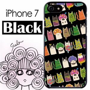 スカラー/50131/スマホケース/スマホカバー/iPhone7/ブラックタイプ/アイフォン/猫柄 アフロ猫と仲間 ブラック かわいい ファッションブ