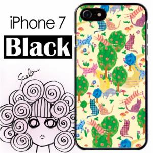 スカラー/50197/スマホケース/スマホカバー/iPhone7/ブラックタイプ/アイフォン/森の中 猫柄 かわいい ファッションブランド