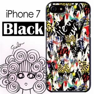 スカラー/50346/スマホケース/スマホカバー/iPhone7/ブラックタイプ/アイフォン/猫柄 シルエット ポップな切り替えし柄 かわいいデザイン