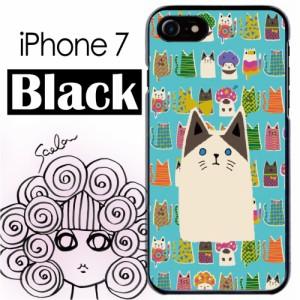 スカラー/50358/スマホケース/スマホカバー/iPhone7/ブラックタイプ/アイフォン/猫柄 アニマル ブルー かわいいデザイン ファッションブ