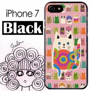 スカラー/50359/スマホケース/スマホカバー/iPhone7/ブラックタイプ/アイフォン/猫柄 アニマル ピンク かわいいデザイン ファッションブ