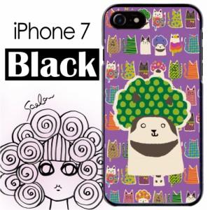 スカラー/50360/スマホケース/スマホカバー/iPhone7/ブラックタイプ/アイフォン/猫柄 アニマル パープル かわいいデザイン ファッション
