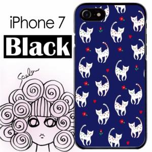 スカラー/50398/スマホケース/スマホカバー/iPhone7/ブラックタイプ/アイフォン/猫柄 花とハート ダークブルー
