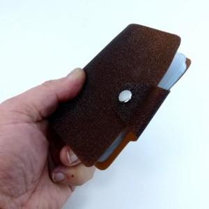 ◎ 二つ折りカードケース ラメ 茶色 SA-237 ポイントカード入れ,クレジットカードケース