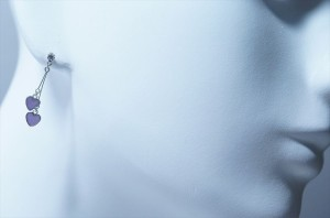 シースルーパープルツインハート ホワイトキュービックジルコニア付き ジュエリー系スタッドピアス