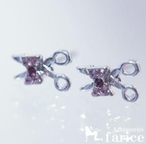 ピンク&パープルキュービックジルコニア キラキラリボン付きはさみデザイン ジュエリー系スタッドピアス