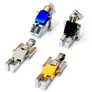 ロボット 手足可動式 メンズ レディース ステンレス ペンダント ネックレス 【イエローゴールド/シルバー/ブラック/ブルー】