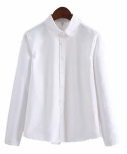 シャツ ブラウス レディース 長袖 無地 綿 ラウンドカラー 白 ホワイト S M L XL トップス カジュアル XLサイズ