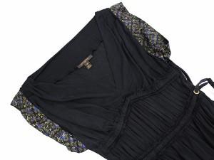 【送料無料】【中古】ルイヴィトン ワンピース ブラック モノグラム ビスコース レディースサイズ34 LOUIS VUITTON 服