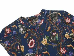 【送料無料】【中古】ルイヴィトン Tシャツ コットン ネイビー モンスター柄 フクロウ メンズサイズXS LOUIS VUITTON 服 メンズ 半袖