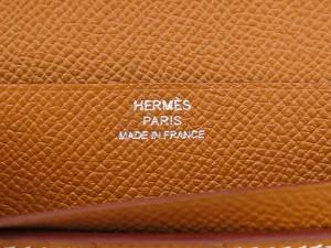 エルメス 長財布 ベアンスフレ マチ有り ゴールド×シルバー金具 ヴォーエプソン X刻印 HERMES 財布