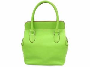 【送料無料】【中古】エルメス ハンドバッグ ツールボックス20 アップルグリーン×シルバー金具 ヴォースイフト P刻印 バッグ