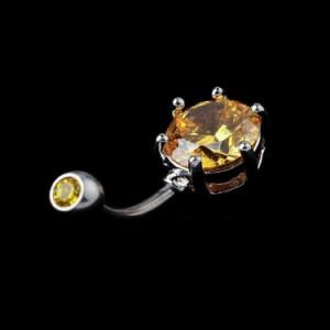 イエロージュエル へそピアス 14G 14ゲージ 黄色 シンプル 大きい ファーストピアス プレーン ジルコニア ラインストーン ヘソピアス 臍