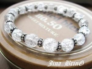 メンズ レディース ブレスレット/カレンシルバー使用■天然クラック水晶数珠ブレスレット■SVシルバー925■BB