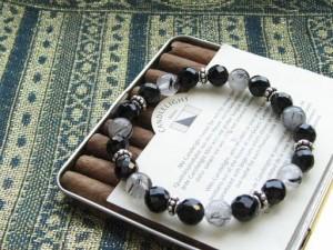 【送料無料】64面カット&ブラックルチル◇数珠ブレスレット/メンズ レディース ブレスレット/BB