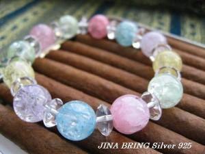かわいい♪レディース ブレスレット/5色のクラック水晶◇姫系小悪魔◇数珠 ブレスレット/メンズ ブレスBB