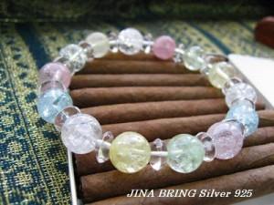 SALE品!5色のクラック水晶◇数珠ブレスレットメンズ レディース ブレスレット/◇BB