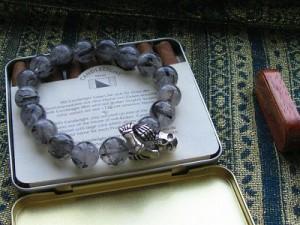 【送料無料】大人気!ブラックルチル&シルバースカル◇数珠ブレスレット■BB