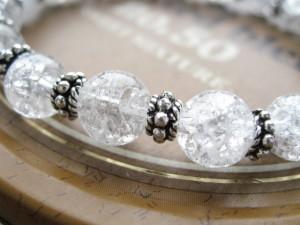 【送料無料】ブレスレット/カレンシルバー使用■天然クラック水晶数珠ブレスレット■SVシルバー925■BB