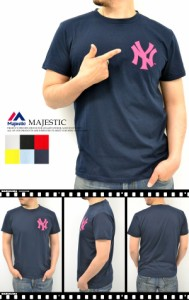 Majestic マジェスティック 〜天竺素材〜 『NY』 カラーロゴ半袖Tシャツ