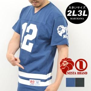 【送料無料】【大きいサイズ】 3L 4L 5L メンズ Tシャツ 半袖【キングサイズ 2L 3L 夏 マルカワ ストリート ライオン フットボ