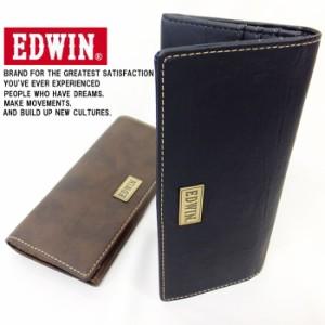 EDWIN エドウィン メタルプレート 合皮長財布