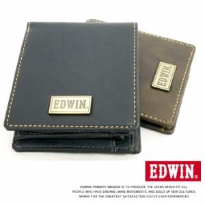 EDWIN エドウィン メタルプレート合皮2折ナカベラ財布