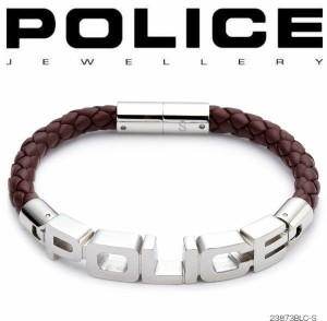 ポリス POLICE ブレスレット SIGNATURE レザー&ステンレス 23873BLC-S (BR)