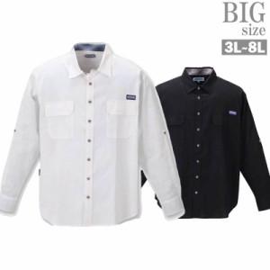 長袖シャツ 大きいサイズ メンズ 麻シャツ 綿麻素材 ロールアップ OUTDOOR C021223-04