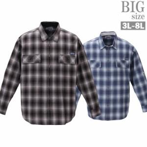 チェックシャツ 大きいサイズ メンズ 綿麻 ロールアップ 長袖シャツ おしゃれシャツ C021223-05