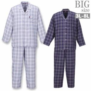 チェック 長袖パジャマ 大きいサイズ メンズ 薄手 ツイル チェック柄 ルームウェア 寝間着 C030112-03