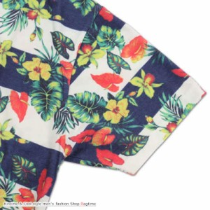 ポロシャツ 大きいサイズ 花柄 メンズ ボタニカル ボーダー 半袖 アロハシャツ C290726-04