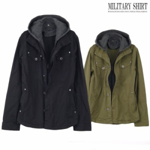 ミリタリーシャツ メンズ シャツパーカー レイヤード フード 重ね着風 シャツブルゾン I021022-01
